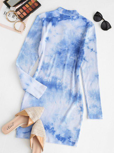hot ZAFUL Half Zip Tie Dye Bodycon Dress - LIGHT SKY BLUE M Mobile