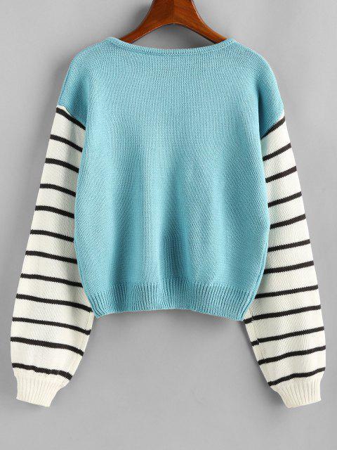 affordable ZAFUL Striped Drop Shoulder V Neck Sweater - MULTI M Mobile