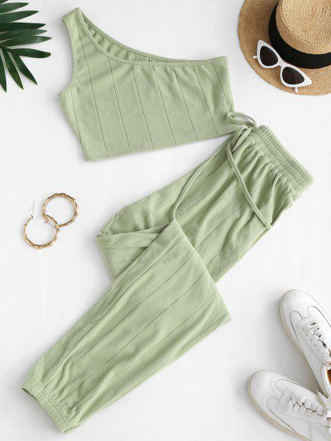 outfits ZAFUL One Shoulder Crop Top and Pants Two Piece Set - LIGHT GREEN XL Mobile