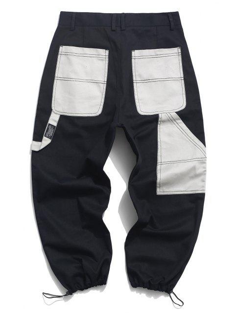 chic Contrast Pocket Patch Drawstring Hem Cargo Pants - BLACK S Mobile