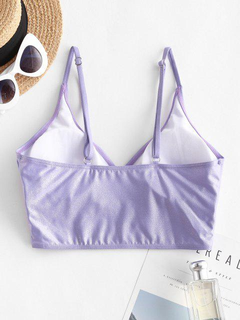 ladies ZAFUL Shiny Cami Surplice Bikini Top - PURPLE S Mobile