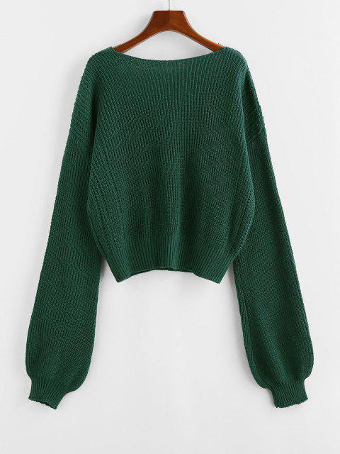 new ZAFUL Plunge Drop Shoulder Lantern Sleeve Sweater - DEEP GREEN M Mobile