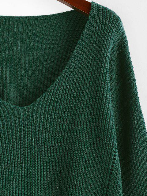 trendy ZAFUL Plunge Drop Shoulder Lantern Sleeve Sweater - DEEP GREEN S Mobile