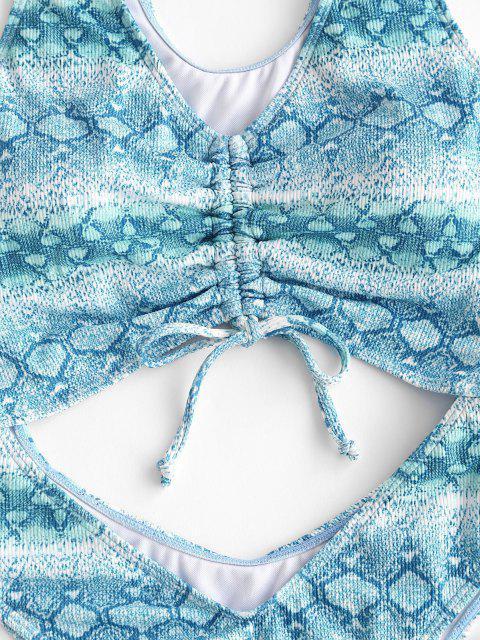 ZAFUL Una Pieza de Corte Alto con Estampado de Serpiente - Azul claro XL Mobile