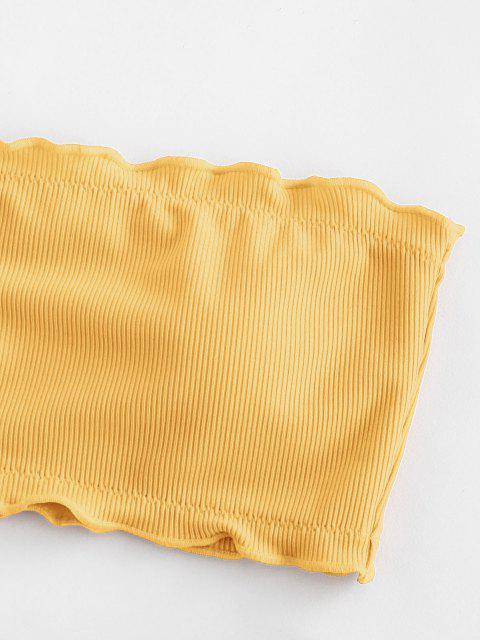 shops ZAFUL Ribbed Lettuce Trim Bandeau Bikini Swimsuit - DEEP YELLOW S Mobile