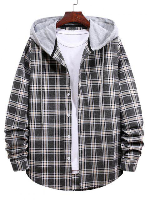 womens Plaid Pattern Button Up Hooded Shirt - BLACK L Mobile