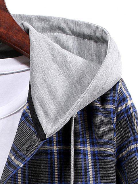 women's Plaid Pattern Button Up Hooded Shirt - CADETBLUE L Mobile