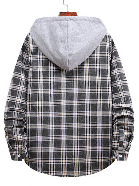 latest Plaid Pattern Button Up Hooded Shirt - BLACK XL Mobile