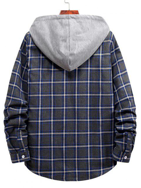 outfit Plaid Pattern Button Up Hooded Shirt - CADETBLUE S Mobile