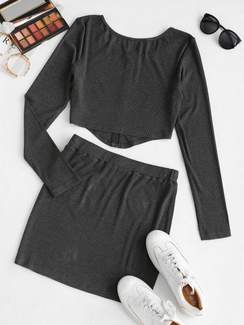 outfits ZAFUL Front Zip Irregular Two Piece Bodycon Dress - DARK SLATE GREY S Mobile