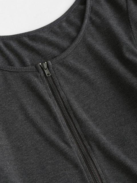 latest ZAFUL Front Zip Irregular Two Piece Bodycon Dress - DARK SLATE GREY XL Mobile
