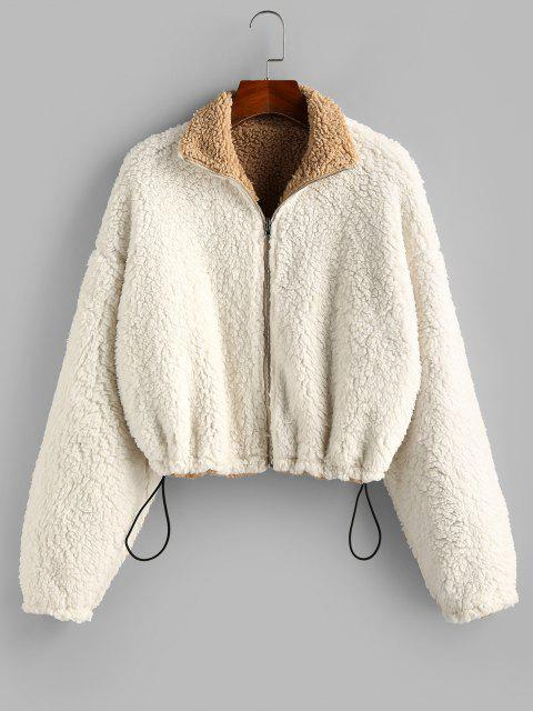 womens ZAFUL Reversible Drop Shoulder Toggle Drawstring Teddy Coat - MULTI-A M Mobile