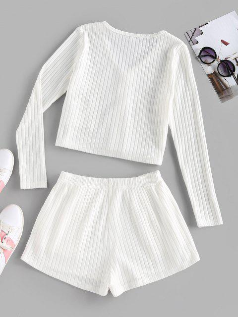 outfit ZAFUL Ribbed Mock Button V Neck Shorts Set - WHITE M Mobile