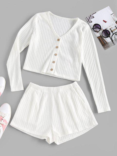 unique ZAFUL Ribbed Mock Button V Neck Shorts Set - WHITE S Mobile