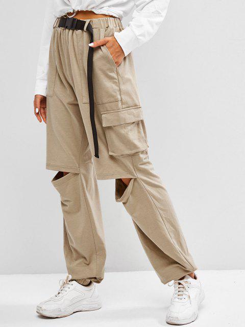 shop ZAFUL Boyish Buckle Pocket Cutout High Rise Sweatpants - TAN L Mobile