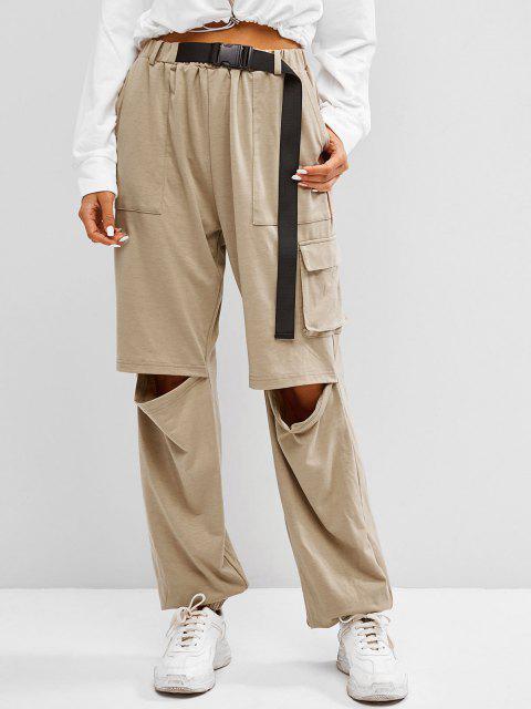 buy ZAFUL Boyish Buckle Pocket Cutout High Rise Sweatpants - TAN M Mobile