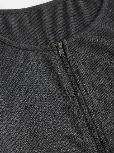lady ZAFUL Irregular Full Zip Crop Cardigan - DARK SLATE GREY S Mobile