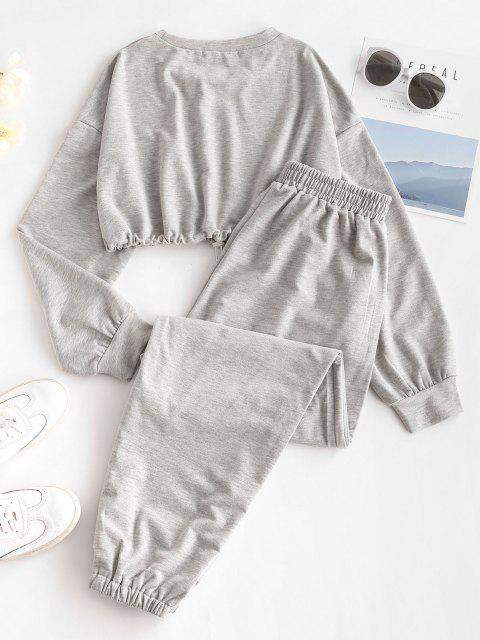hot Crop Sweatshirt and Joggers Tracksuit - GRAY M Mobile