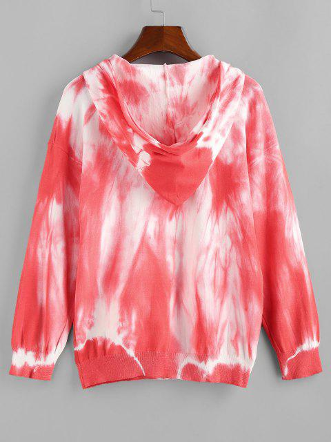 shop Tie Dye Hooded Drop Shoulder Jersey Sweater - RED S Mobile