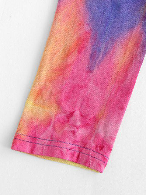 affordable ZAFUL Tie Dye Cinched Crop T Shirt - PURPLE S Mobile