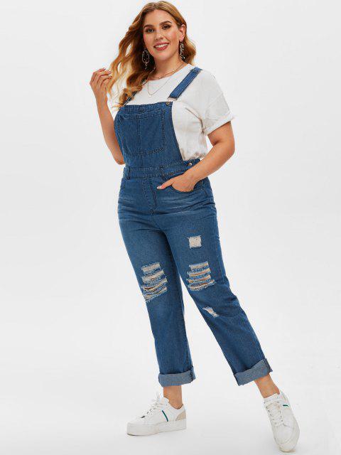 fashion Plus Size Ripped Dungaree Jumpsuit - DEEP BLUE L Mobile