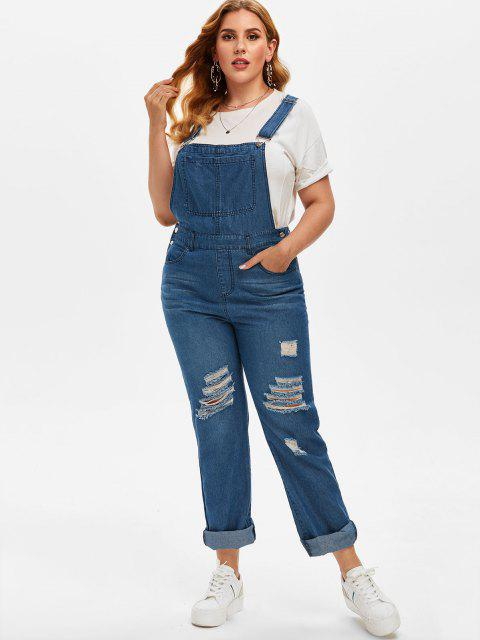 fancy Plus Size Ripped Dungaree Jumpsuit - DEEP BLUE 2X Mobile