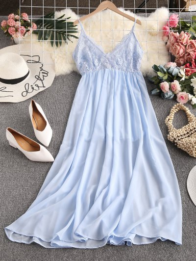 ZAFUL Lace Bodice Chiffon Bridesmaid Dress - Light Sky Blue M