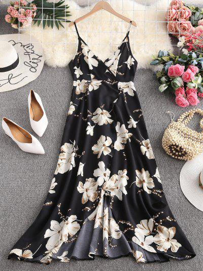 ZAFUL Flower Slit Maxi Surplice Dress - Black S