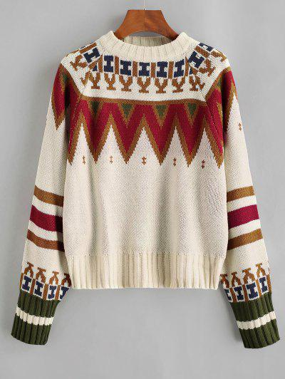 Crew Neck Raglan Sleeve Geometric Graphic Sweater - Light Coffee
