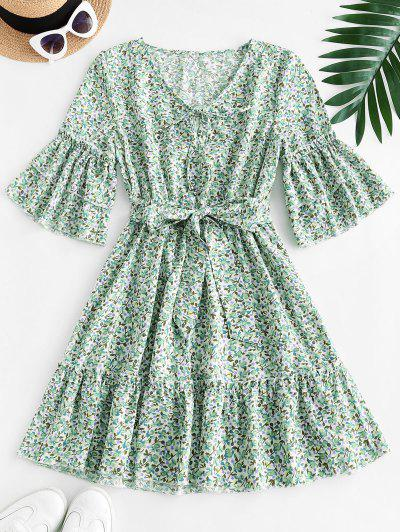 Ditsy Floral Print Tie Tiered Sleeve Dress - Green S