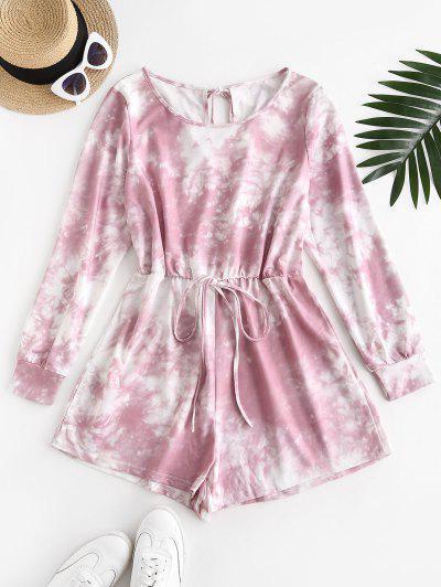 Tie Dye Sweat Romper - Light Pink L