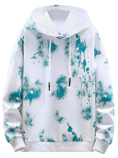 Paint Splatter Print Drawstring Hoodie - White L