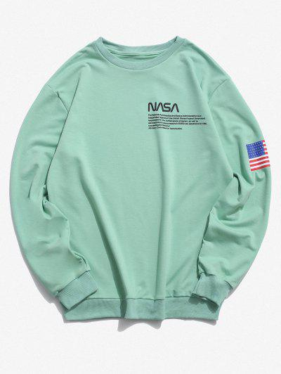 American Flag Letter Print Rib-knit Trim Sweatshirt - Light Green L