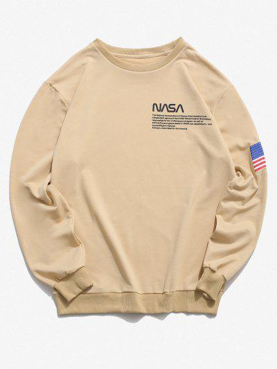 American Flag Letter Print Rib-knit Trim Sweatshirt - Light Yellow 2xl