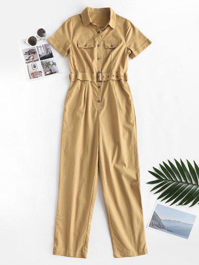 Flap Detail Half Buttoned Belted Jumpsuit - Light Coffee M