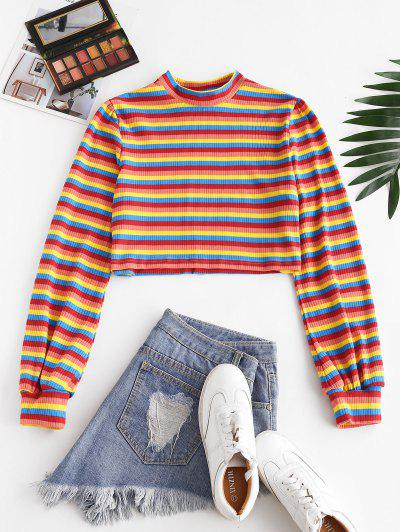 Ribbed Rainbow Striped Crew Neck Knitwear - Red M
