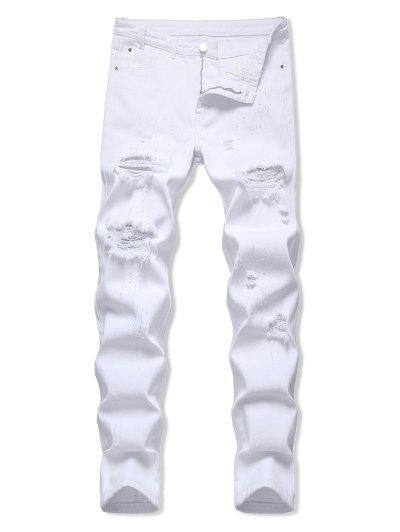 Zipper Fly Distressed Tapered Jeans - White 32