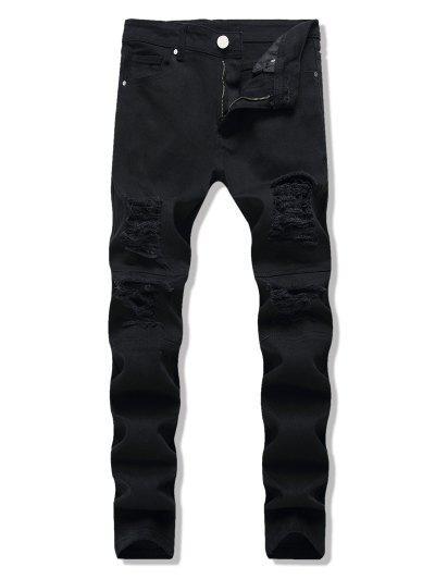 Dark Wash Distressed Tapered Jeans - Black 32