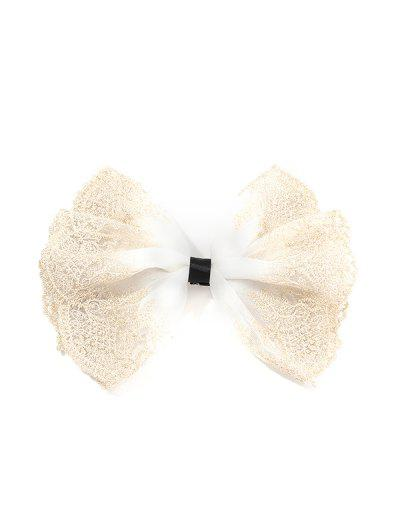 Embroidery Lace Bowknot Barrette - White