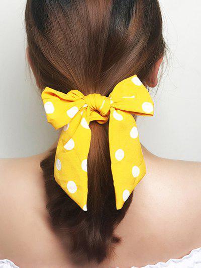 Dots Print Bowknot Ribbon Scrunchie - Yellow