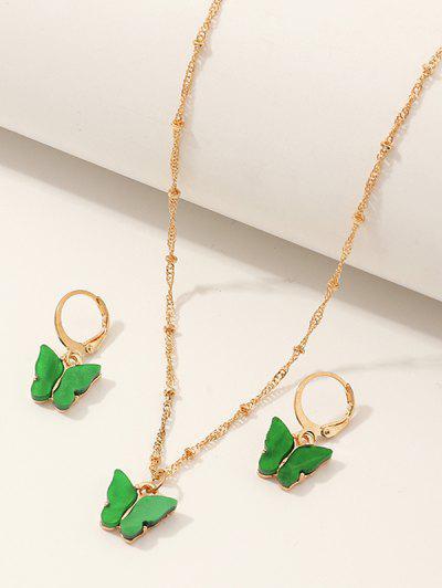 Butterfly Acrylic Earrings Necklace Set - Shamrock Green