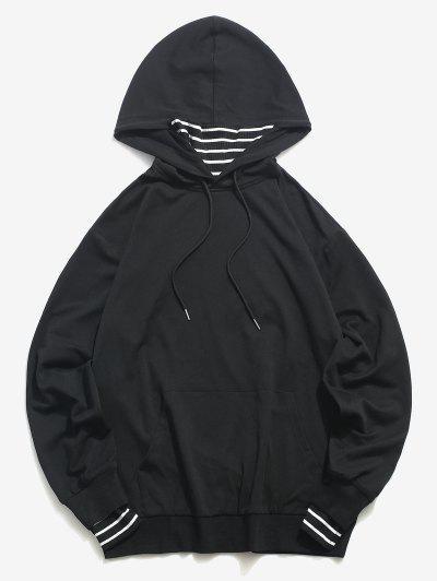 ZAFUL Stripes Face Warmer Kangaroo Pocket Hoodie - Black S