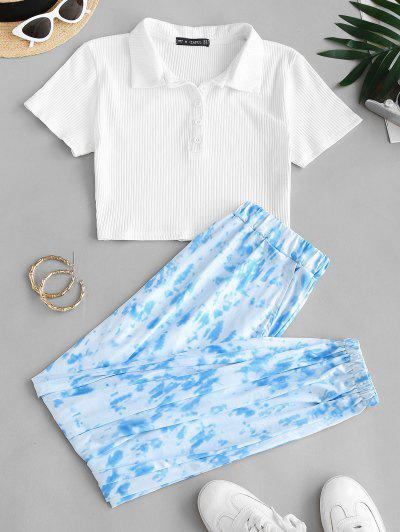 Button Front Ribbed Tie Dye Two Piece Set - Light Blue S