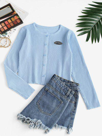 Button Up Crew Neck Embroidered Cardigan - Light Blue