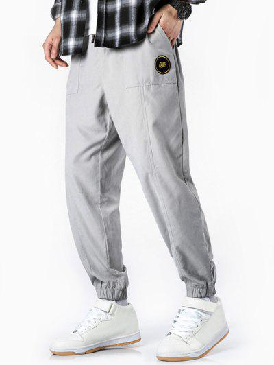 Glitter Letter Applique Casual Jogger Pants - White S