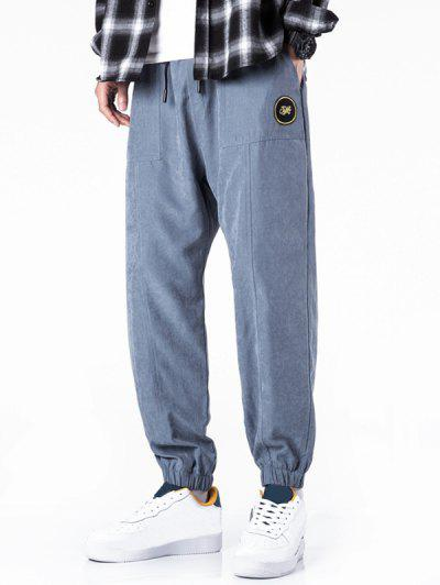 Glitter Letter Applique Casual Jogger Pants - Slate Blue M