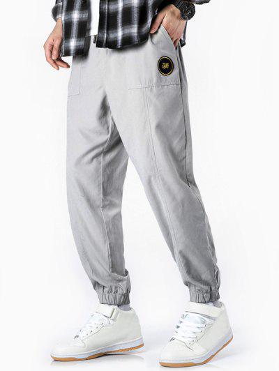 Glitter Letter Applique Casual Jogger Pants - White L