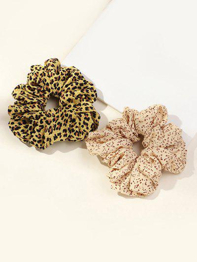 2Pcs Leopard Dots Print Scrunchies Set - Multi-a
