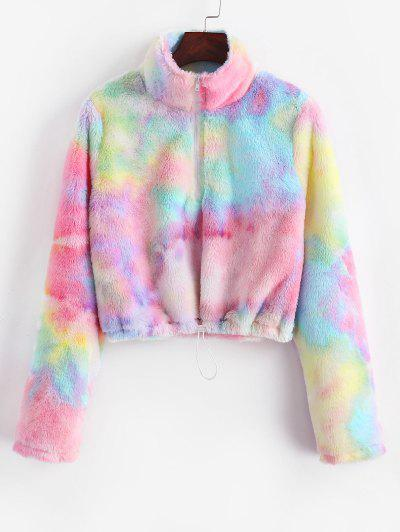 Half Zip Faux Fur Colorful Tie Dye Sweatshirt - Light Pink S