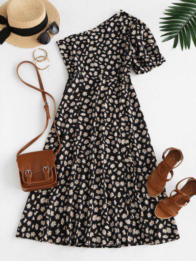 Daisy Floral Slit One Shoulder Bubble Sleeve Dress - Black S